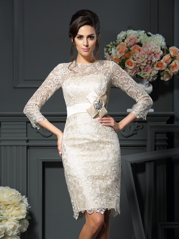 Fashion Sheath Scoop 3/4 Sleeves Short Lace Mother of the Bride Dress