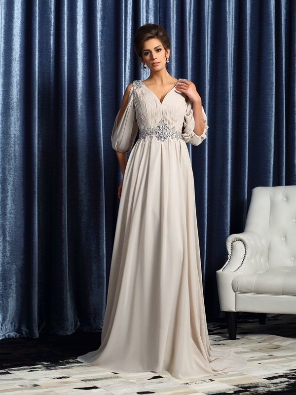 Fancy A-Line V-neck 1/2 Sleeves Long Chiffon Mother of the Bride Dress