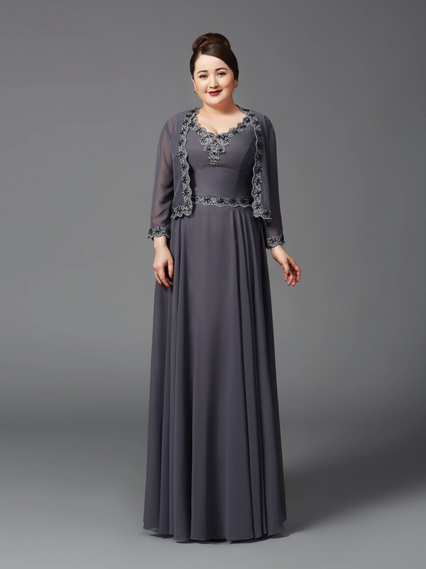 Amazing A-Line Straps Lace Sleeveless Long Chiffon Mother of the Bride Dress