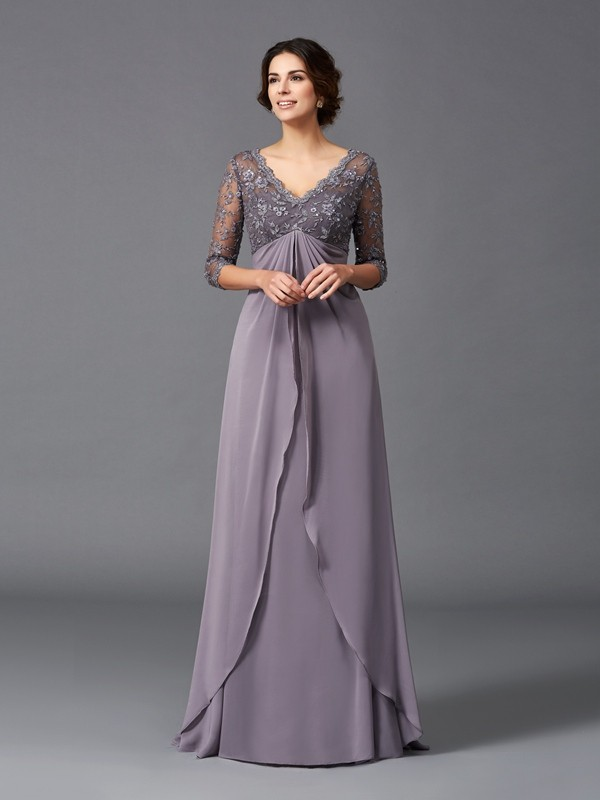 Amazing A-Line V-neck Lace 3/4 Sleeves Long Chiffon Mother of the Bride Dress