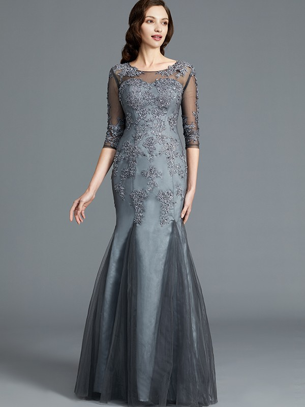 Gorgeous Sheath Scoop 1/2 Sleeves Tulle Floor-Length Mother of the Bride Dress