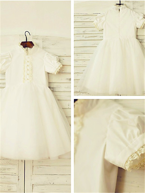 Affordable A-line High Neck Short Sleeves Lace Tea-Length Tulle Flower Girl Dress
