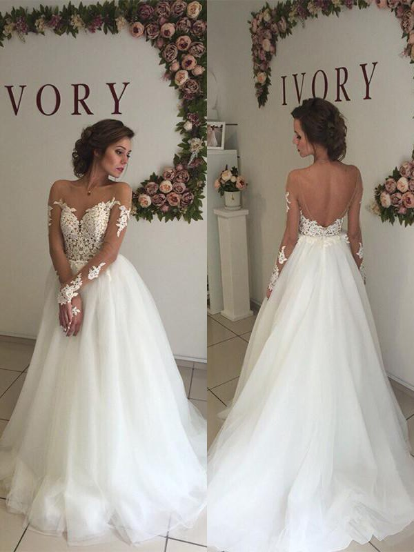 Fashion A-Line Tulle Off-the-Shoulder Sweep/Brush Train Long Sleeves Wedding Dress