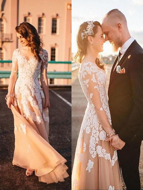 Fashion A-Line Tulle V-neck Long Sleeves Lace Sweep/Brush Train Wedding Dress
