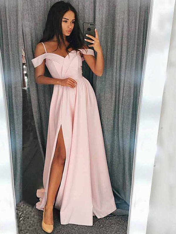 Affordable A-Line Sleeveless Off-the-Shoulder Sweep/Brush Train Satin Dress