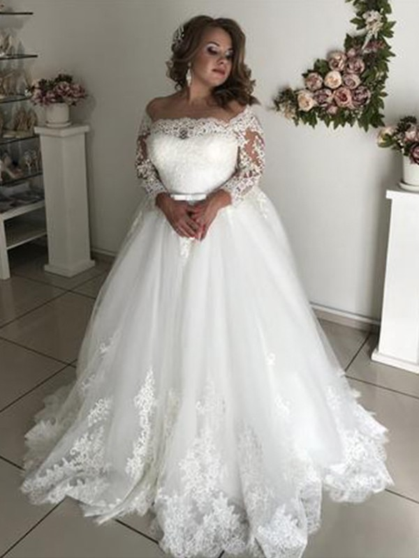 Stylish A-Line Off-the-Shoulder Long Sleeves Sweep/Brush Train Lace Tulle Wedding Dress