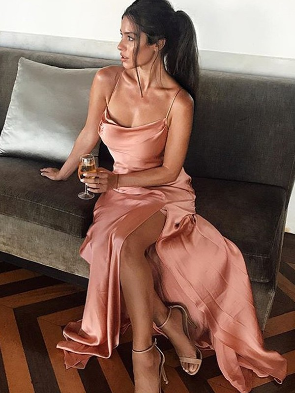 New Sheath Sleeveless Spaghetti Straps Floor-Length Silk like Satin Dress