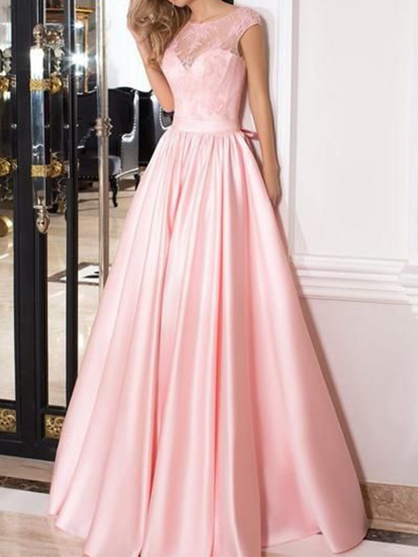 Affordable A-Line Sleeveless Sheer Neck Floor-Length Lace Satin Dress