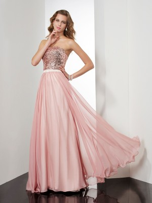 Chic A-Line Strapless Sleeveless Long Chiffon Dress