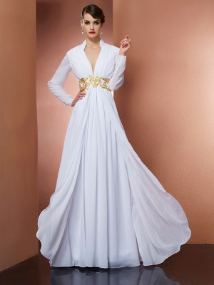 Stylish A-Line V-neck Long Sleeves Long Chiffon Dress