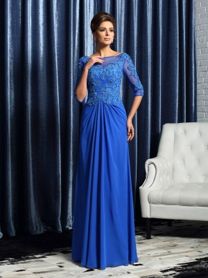 Fancy A-Line Bateau 1/2 Sleeves Long Chiffon Mother of the Bride Dress