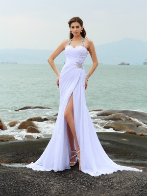 Gorgeous Sheath Straps Sleeveless Long Chiffon Beach Wedding Dress
