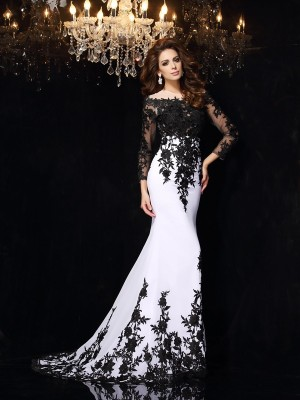 Unique Sheath Scoop Lace Long Sleeves Long Chiffon Dress