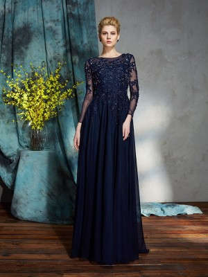 Amazing A-Line Scoop 3/4 Sleeves Long Chiffon Mother of the Bride Dress