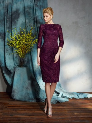 Amazing Sheath Bateau Lace 3/4 Sleeves Short Lace Mother of the Bride Dress