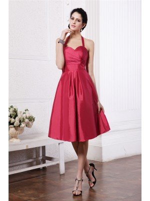 Gorgeous A-Line Halter Sleeveless Short Taffeta Bridesmaid Dress