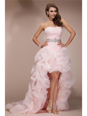 Modest A-Line Sweetheart Sleeveless High Low Organza Dress