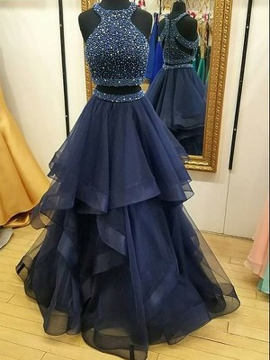 Fashion A-Line Sleeveless Halter Tulle Floor-Length Two Piece Dress