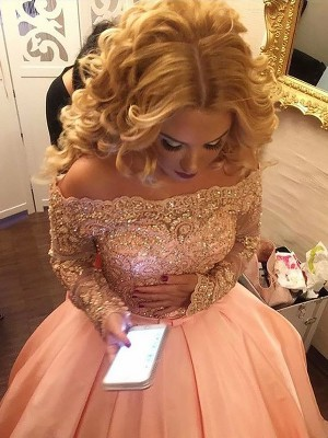Fashion Ball Gown Long Sleeves Off-the-Shoulder Satin Court Train Dress