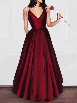 Gorgeous A-Line V-neck Floor-Length Satin Sleeveless Dress