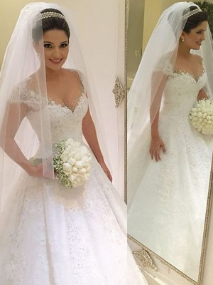 Discount Ball Gown Sleeveless V-neck Floor-Length Tulle Wedding Dress