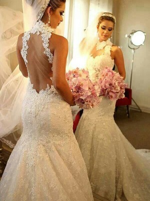 Affordable Mermaid High Neck Sleeveless Lace Court Train Wedding Dress