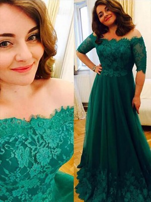 Best A-Line Short Sleeves Tulle Off-the-Shoulder Floor-Length Plus Size Dress