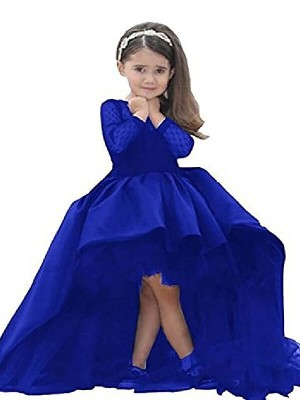Chic Ball Gown Scoop Long Sleeves Sweep/Brush Train Satin Flower Girl Dress