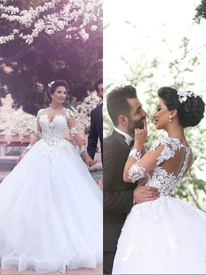 Fashion Ball Gown Court Train Sweetheart Long Sleeves Tulle Wedding Dress