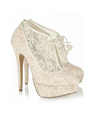 Classical Women Lace Stiletto Heel Closed Toe Platform Wedding Champagne Boots