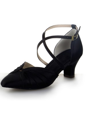 New Women Closed Toe Satin Chunky Heel Buckle Dance Shoes