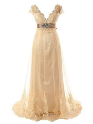 Nice A-Line Short Sleeves V-neck Sweep/Brush Train Lace Tulle Wedding Dress