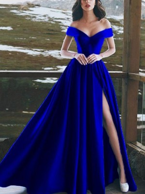 Discount A-Line Sleeveless Off-the-Shoulder Floor-Length Satin Dress