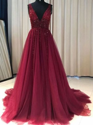 Elegant A-Line V-neck Sleeveless Sweep/Brush Train Tulle Dress