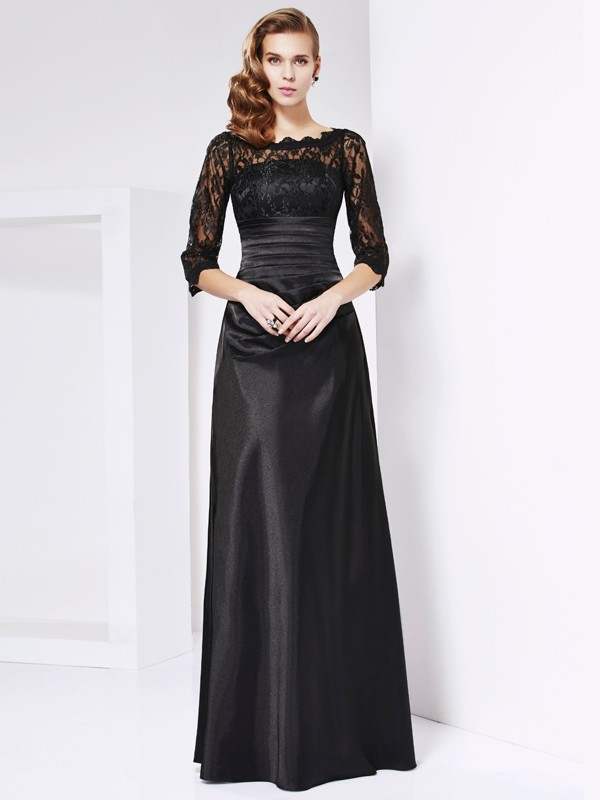 Beautiful Sheath Off the Shoulder 3/4 Sleeves Lace Long Elastic Woven Satin Mother of the Bride Dress