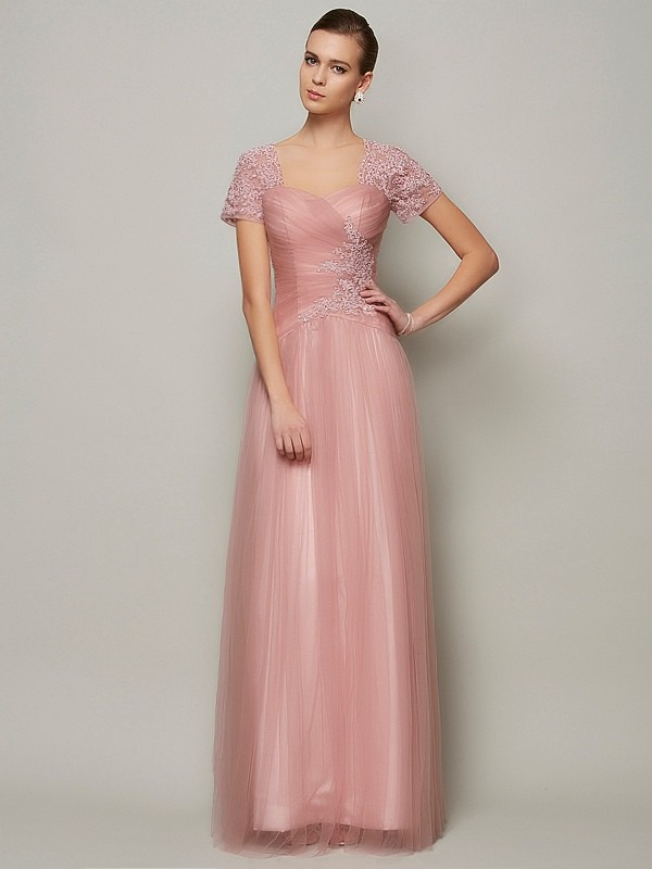 Beautiful A-Line Sweetheart Short Sleeves Long Satin Dress