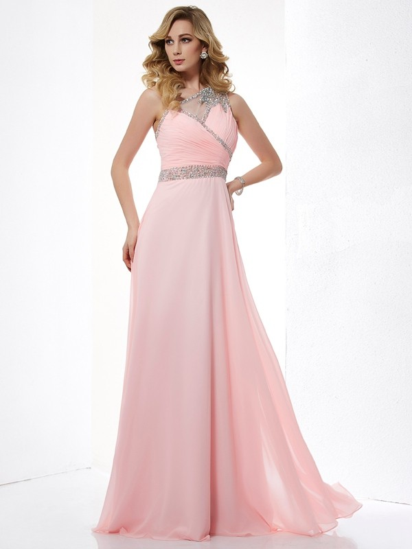 Beautiful A-Line One-Shoulder Sleeveless Chiffon Long Dress