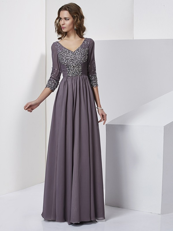 Beautiful Sheath V-neck 3/4 Sleeves Long Chiffon Dress