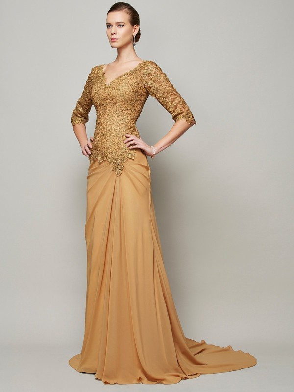 Elegant Sheath V-neck 1/2 Sleeves Lace Long Chiffon Dress