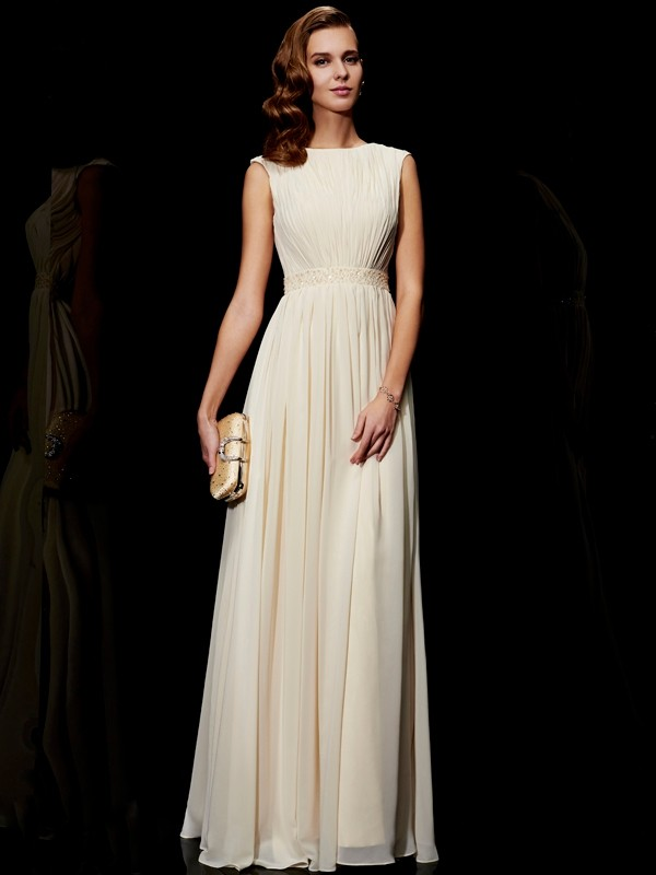 Elegant A-Line Jewel Sleeveless Long Chiffon Dress