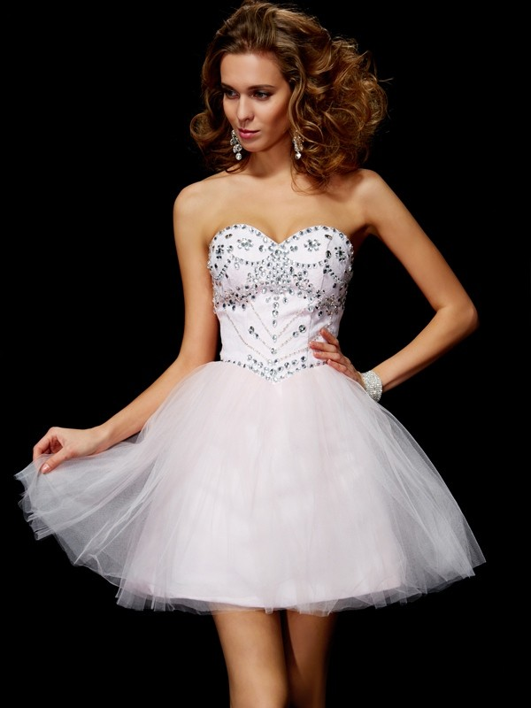 Elegant A-Line Sweetheart Sleeveless Short Organza Homecoming Dress