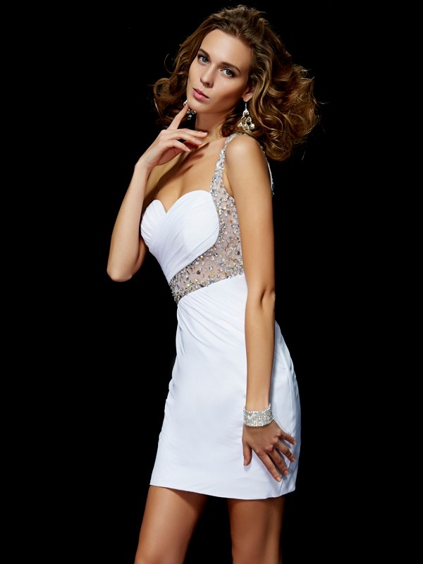Elegant A-Line One-Shoulder Sleeveless Sequin Short Chiffon Homecoming Dress