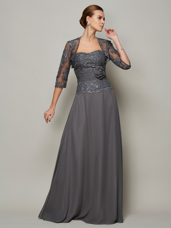Elegant A-Line Sleeveless Sweetheart Long Chiffon Mother of the Bride Dress