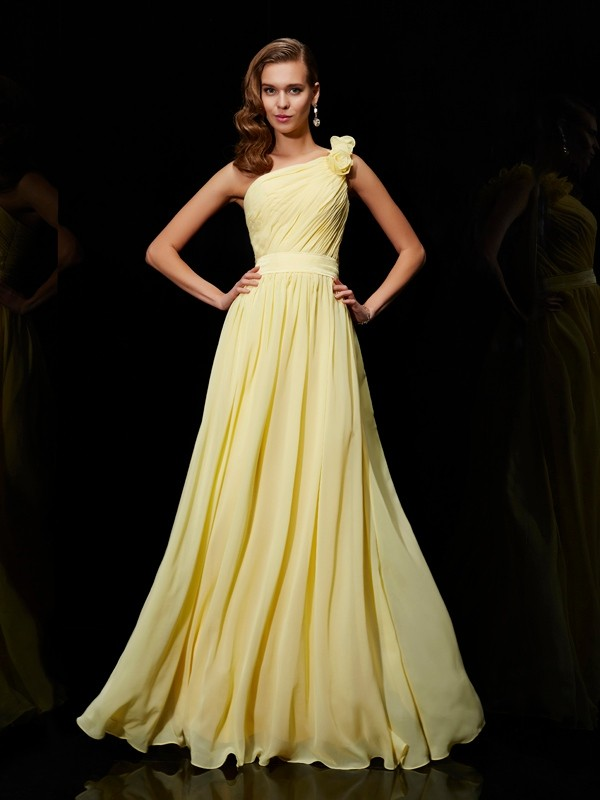 Elegant A-Line One-Shoulder Sleeveless Long Chiffon Bridesmaid Dress