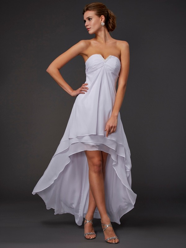 Elegant A-Line Sweetheart Sleeveless High Low Chiffon Dress