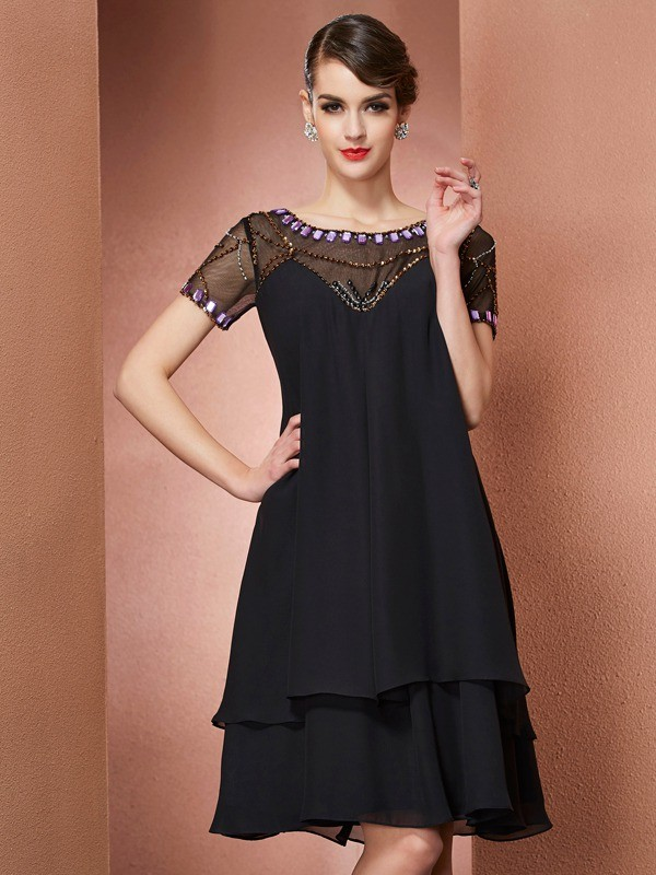 Elegant A-Line Scoop Short Sleeves Short Chiffon Mother of the Bride Dress
