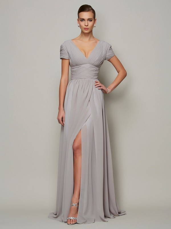 Elegant A-Line V-neck Short Sleeves Long Chiffon Mother of the Bride Dress