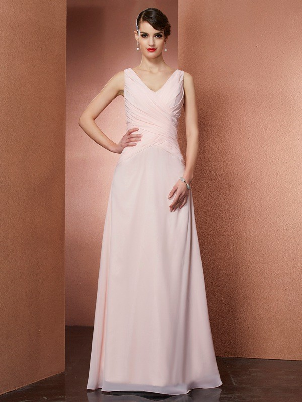 Chic A-Line V-neck Sleeveless Long Chiffon Dress