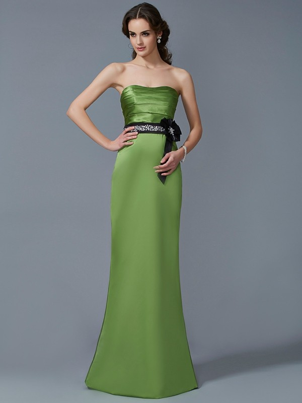 Chic Sheath Strapless Sleeveless Long Satin Bridesmaid Dress
