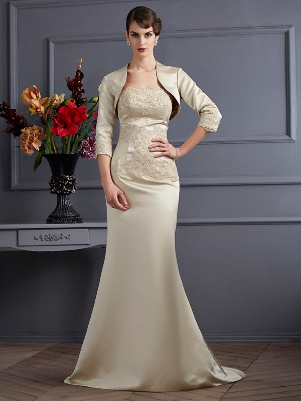 Chic Mermaid Strapless Sleeveless Long Satin Mother of the Bride Dress
